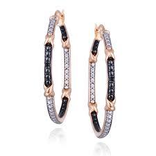 black diamond hoop earrings db designs gold and black diamond hoop earrings free