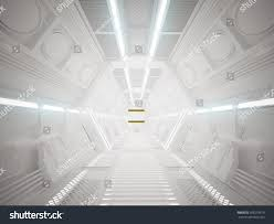 3d illustration futuristic design spaceship interior stock