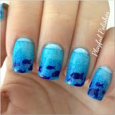 playful polishes june nail art challenge ocean nails