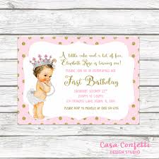 pink and gold glitter princess first birthday party invitation