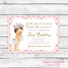 1st birthday princess invitation pink and gold glitter princess first birthday party invitation