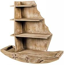 natural washed wooden boat shaped wall shelves shelf unit