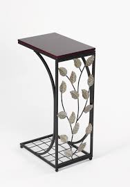 narrow wood and metal tray end table with faux leaves accent of 9