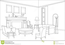 Drawing Room Furniture Drawing Room With Fireplace Editable Furniture Interior In Retro