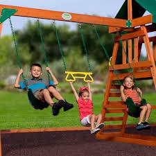 backyard discovery prescott cedar wooden swing set walmart com