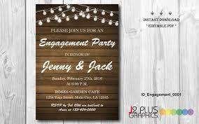 instant download engagement invitation rustic lights engagement
