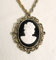 cameo necklace images Vintage cameo necklace pendant brooch black white glass jpg