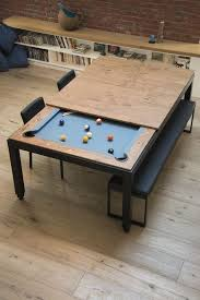 Elliptical Pool Table James Teak Pool Table Can Be Hidden Away To Become A Dining