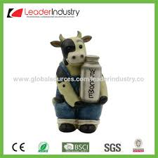 china painted resin lovely farm cow welcome lawn statue for
