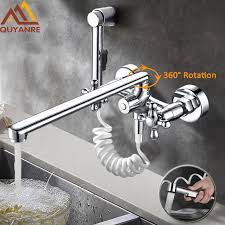 Kitchen Faucet Outlet 300mm Outlet Pipe Nose Chrome Dual Spout Pull Out Kitchen Faucet