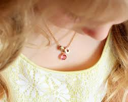 Children S Birthstone Necklace Children U0027s Initial Necklace Lowercase Personalized