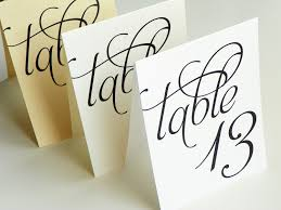 Scripted Pearl Shimmer Table Numbers Table Number Cards Tent