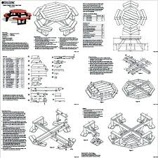 Free Plans For Picnic Table Bench Combo by Classic Octagon Picnic Table Woodworking Plans Blueprints Odf08
