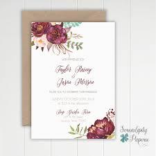 Wedding Invitations Houston Romantic Floral Maroon Wedding Invitation By Serendipitypaperieco
