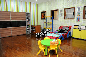 creative kids playroom with furniture tables and chairs are made