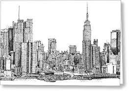 new york skyline in ink drawing by adendorff design