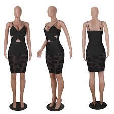 awesome womens sleeveless mesh bandage bodycon dress club party