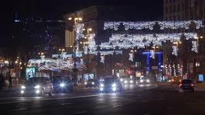automobile alley christmas lights christmas tree in independence square kiev ukraine stock video