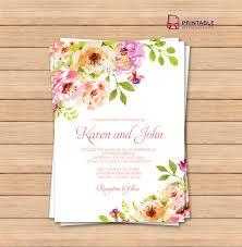 Floral Invitation Card Designs Vintage Floral Border Invitation Template Wedding Invitation