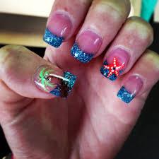 starfish and palm tree nails beach nails sparkles nails
