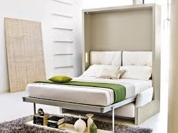 stylish single iron pull down bed frame with white mattress and