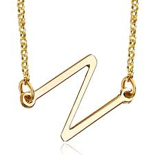 Gold Plated Name Necklace Initial Necklace 18 K Gold Plated 925 Sterling Silver Sideways