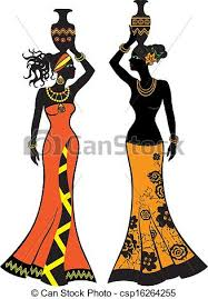 African Vases Clipart Vector Of Beautiful African Woman With Vases Two Versions