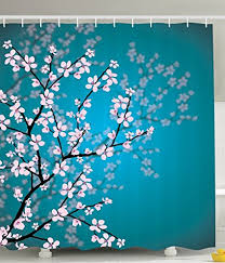 cherry blossom decor teal shower curtain pink blossoms decor by ambesonne