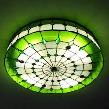 Stained Glass Ceiling Light 5 Light Shade 24 Inch Stained Glass Flush Mount