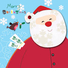box of 5 father christmas cards hand finished cards love kates