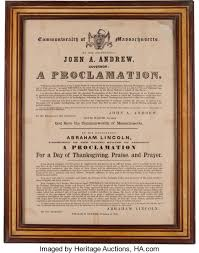 abraham lincoln 1863 thanksgiving proclamation lot 48070