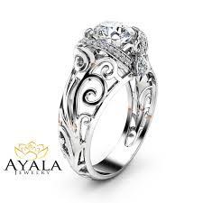 gold art rings images Moissanite filigree engagement ring 14k white gold art deco ring jpg