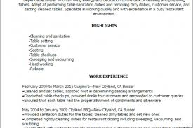 Barback Resume Examples by Job Description For A Busser Resume Busser Resume Sample No