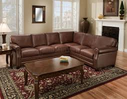 Brown Top Grain Italian Leather Traditional Sectional Sofa