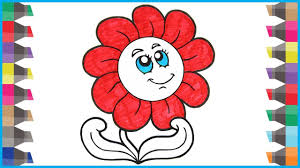 how to draw flower and coloring flowers coloring book pages
