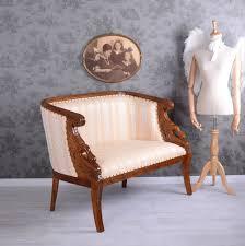 Esszimmerbank Leder G Stig Empire Sofa Holzschnitzereien Mahagoni Sitzbank Altweiss Vintage