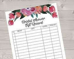 bridal shower gift registry bridal gift record etsy