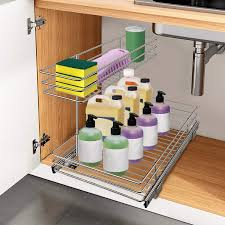 the kitchen sink cabinet organization pull out cabinet organizer 13 in sliding sink storage 2 tier shelf silver