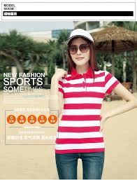 new summer striped cotton short sleeved polos womens polo tops