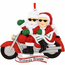 personalized santa and mrs claus on motorcycle ornament