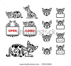 cat ornament decoration clean smooth stock vector 170513906