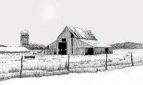 winter barn drawing by lyle brown