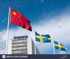 volvo sweden chinese flag flying over volvo factory at gothenburg in sweden