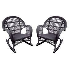 jeco santa maria wicker patio rockers with optional cushion set