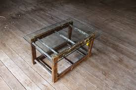 Glass And Wood Coffee Tables by Buy A Custom Made Old Wood Ladder And Glass Coffee Table Made To