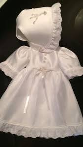 ivory satin with white lace angel sleeve gown with bonnet
