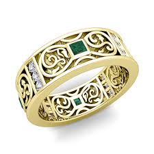 gold bands rings images Princess cut celtic emerald wedding band ring for men in 14k gold jpg