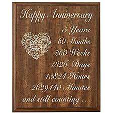 fifth anniversary gift ideas for him 5th anniversary solid wood plaque 5 years 60 months