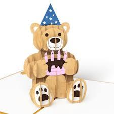 gold birthday bear pop up birthday card lovepop