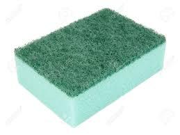green kitchen sponge isolated on white background stock photo